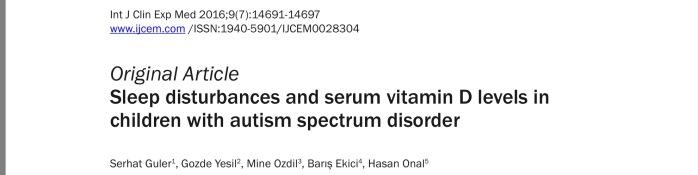 Otizm uyku, otizm d vitamini