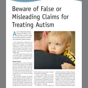 Otizm tedavisi, tedavi uyarısı